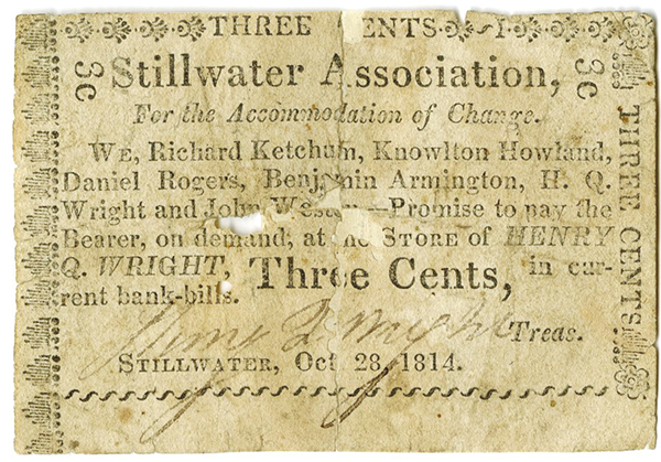 Stillwater Association 1814 Scrip Note.