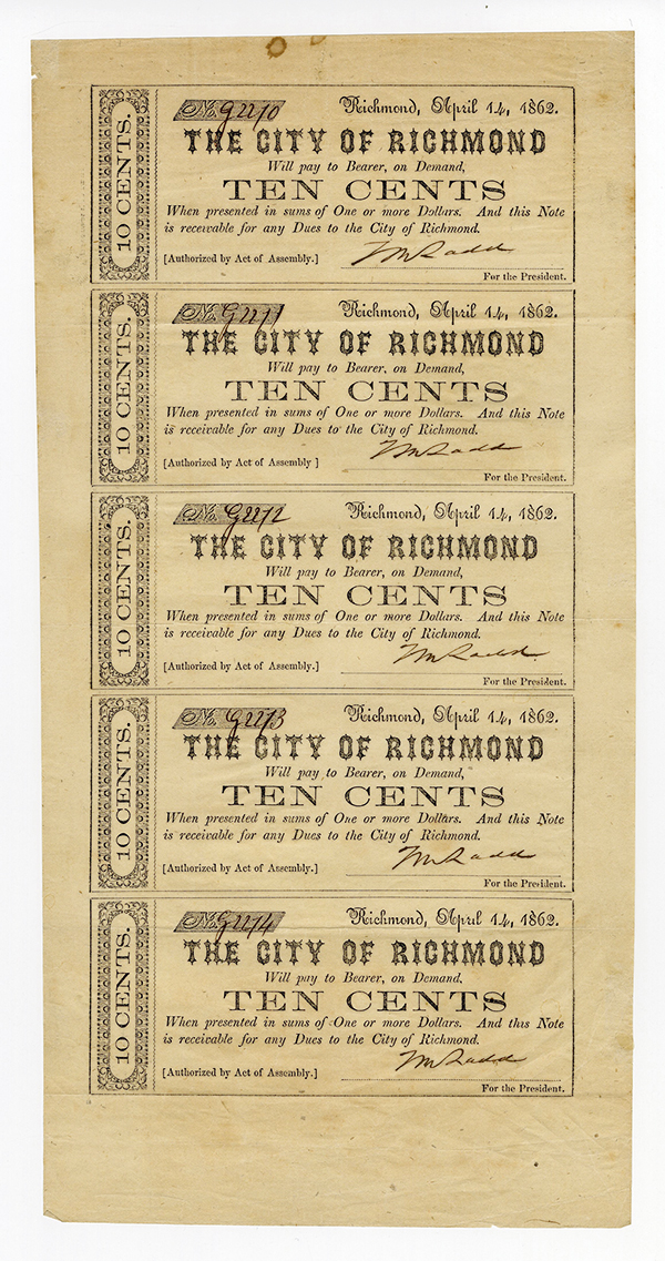 City of Richmond, 1862 Uncut Sheet of 5 Notes.