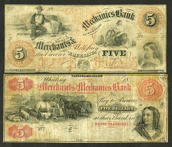 Merchants and Mechanics Bank, ca.1850's Obsolete Banknote Pair.