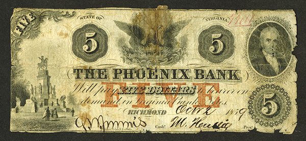 Phoenix Bank, 1859 Obsolete Banknote.