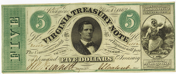 Virginia Treasury Note, 1862 Issue.