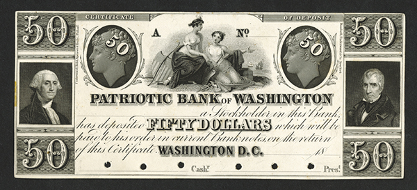 Patriotic Bank of Washington, 18xx (ca. 1830's) Proof Obsolete Banknote.