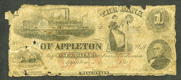 Bank of Appleton, 185x Obsolete Banknote.