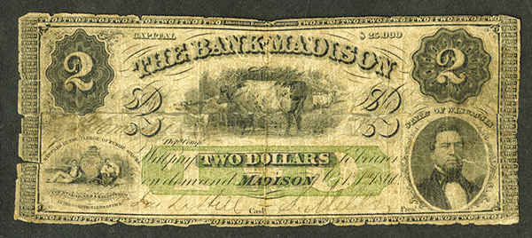 Bank of Madison, ca. 1860 Issued Obsolete Banknote.