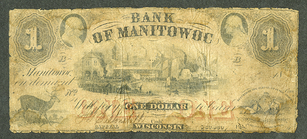 Bank of Manitowoc, 18xx (1850's) Issued Obsolete Banknote Rarity.