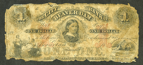 City Bank of Beaver Dam, 1840-50's Issued Obsolete Banknote.