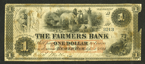Farmers Bank, 1861 Issued Obsolete Banknote.