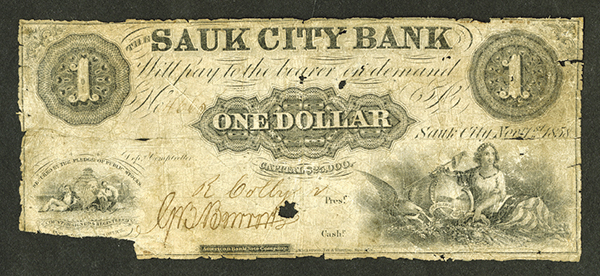 Sauk City Bank, 1858 Obsolete Banknote.