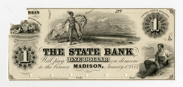 State Bank, 1853 Proof Obsolete Banknote.