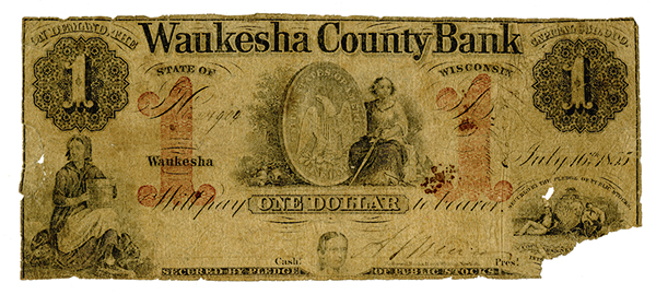 Waukesha County Bank, July 16th, 1855 with $50,000 Capitalization, Issued Obsolete Banknote.