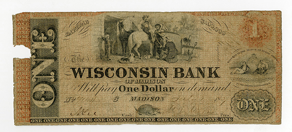 Wisconsin Bank of Madison, 1850-60's Obsolete Banknote.