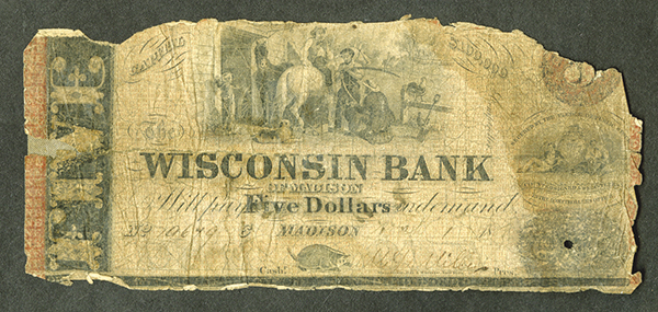 Wisconsin Bank, ca. 1850's Issued Obsolete Banknote.