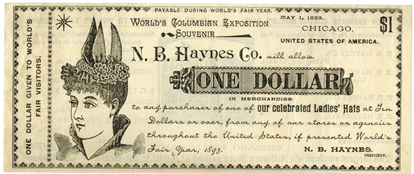 N.B.Haynes Co., 1893 World's Columbian Exposition Ad Note.
