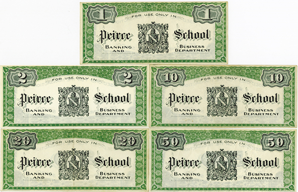 College currency Assortment ca. 1880-1900.