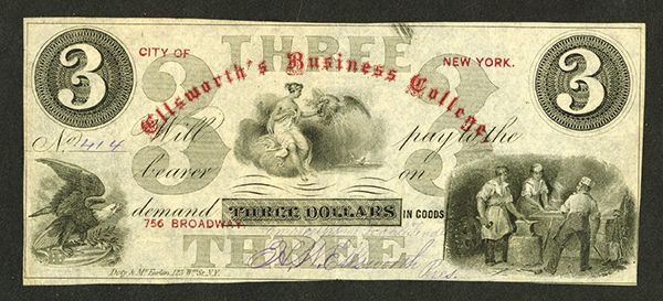 Ellsworth's Business College, ND (ca.1860's) College Currency Obsolete Banknote Rarity.