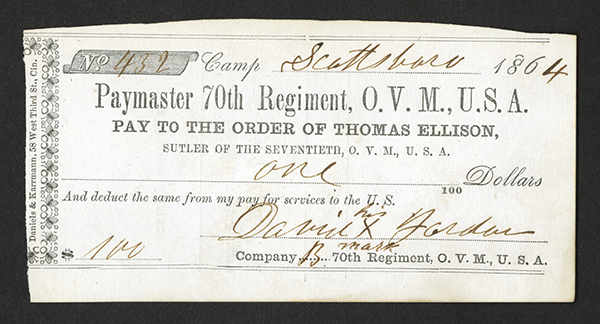 Thomas Ellison, Sutler to the 70th, Paymaster 70th Regiment, O.V.M., U.S.A., 1864 Sutler Note.