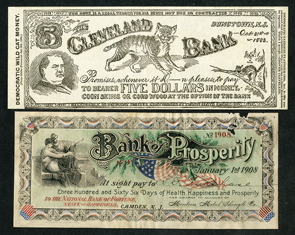 Lot of 2 Large Size Notes or Checks, ca. 1892-1908.