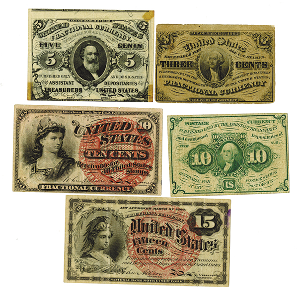 U.S. Fractional Currency Assortment.