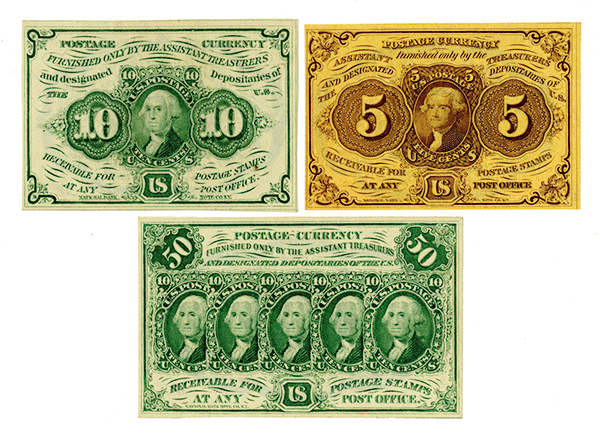 U.S. Fractional Currency, 1st Issue Trio.