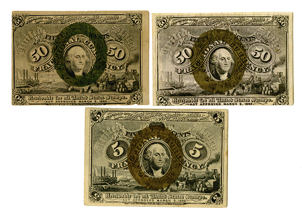 U.S. Fractional Currency, 2nd Issue Trio.