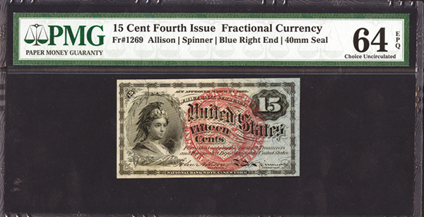 Fourth Issue U.S. Fractional Currency, Fr#1269, 15 cents.