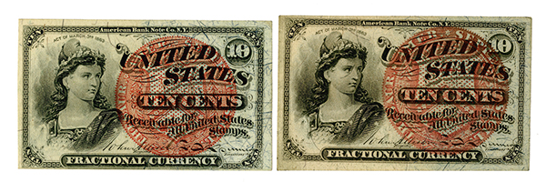 U.S. Fractional Currency, 4th Issue Pair.