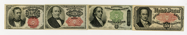 U.S. Fractional Currency, 4th Issue Quartet.