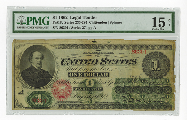 Fr. 16c $1 1862 Legal Tender PMG Apparent Fine 15. A nice legal tender ace from this early issue with bold printing and splendid ink colors. There are some small edge splits and tears that don't greatly affect the eye appeal of this note.