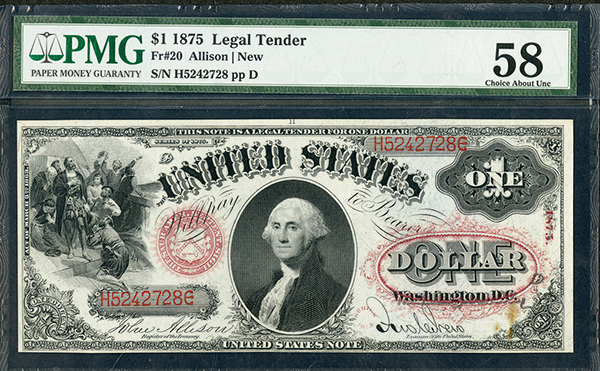 U.S. Legal Tender, 1875, $1, Fr#20 Issued Banknote.