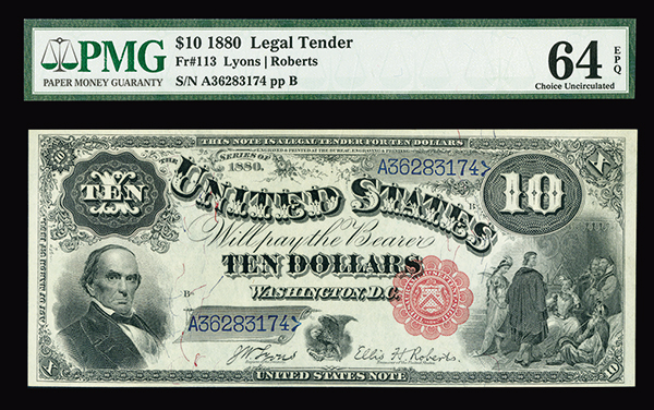 U.S. Legal Tender, 1880, $10, Fr#113 Issued Banknote.