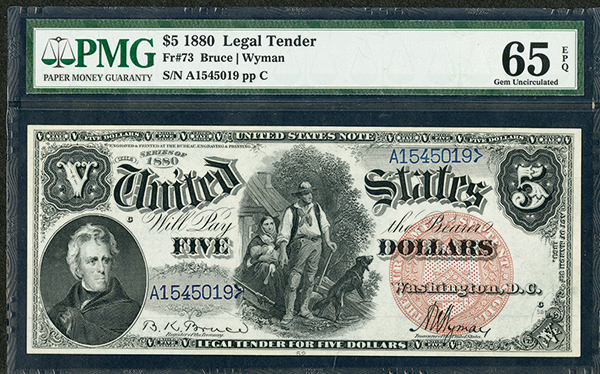 U.S. Legal Tender, 1880, $5, Fr#73 Issued Banknote.