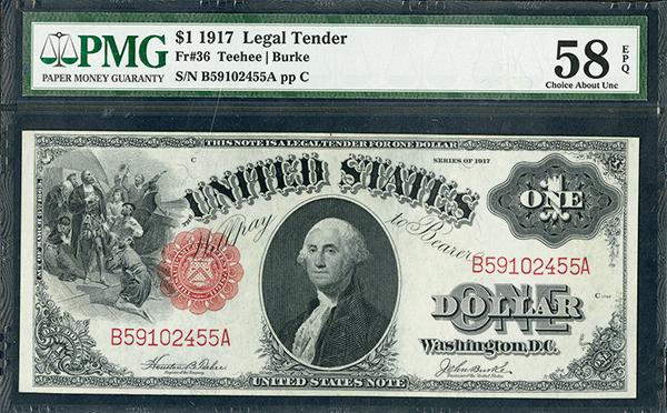 U.S. Legal Tender, 1917, $1, Fr#36 Issued Banknote.