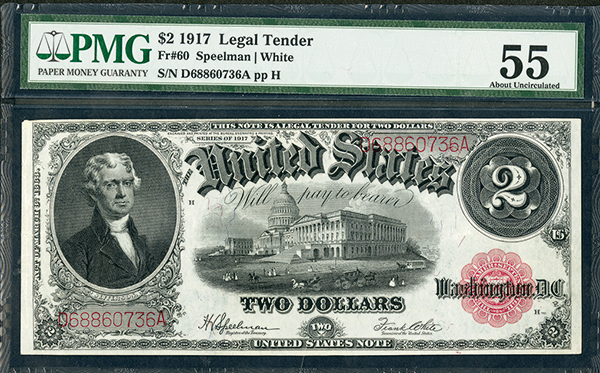 U.S. Legal Tender, 1917, $2, Fr#60 Issued Banknote.