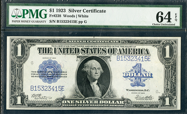 U.S. Silver Certificate, 1923, $1, Fr#238 Issued Banknote.