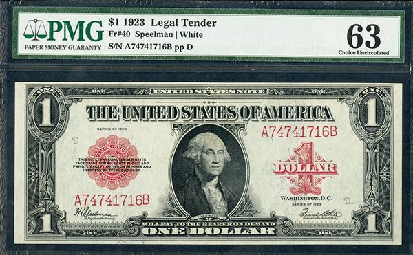 U.S. Note, 1923 Legal Tender, $1, Fr#40, Red Seal Issued Banknote.