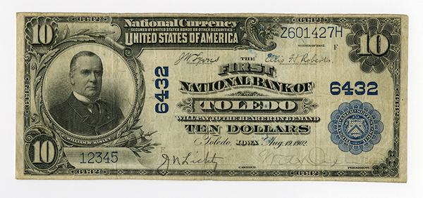 First National Bank of Toledo, 1902 PB, Ch# 6432 with Desirable Ladder S/N 12345.
