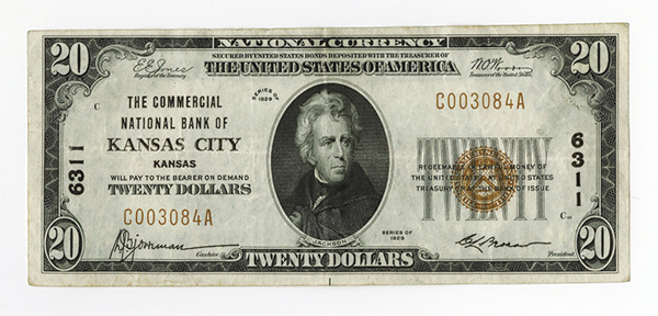 Commercial National Bank of Kansas City, Kansas. $20, 1929, T-1, Ch#6311.