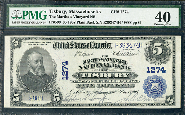 Martha's Vineyard National Bank of Tisbury, $5, 1902 Plain Back, Ch#1274, Fr#599, Issued Banknote.