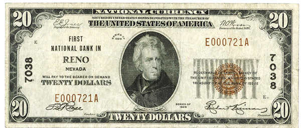 First National Bank in Reno. $20, Series of 1929, T-1, Ch# 7038.