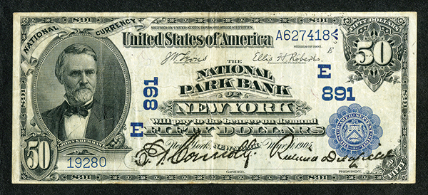 National Park Bank, 1902 Date Back CH# 891, National Currency.