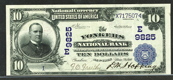 Yonkers National Bank, Yonkers, NY, $10 1902 DB, Ch# E 9825 Serial # 1A  Banknote.