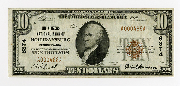 Citizens National Bank of Hollidaysburg, $10 T-1, Ch#6874.