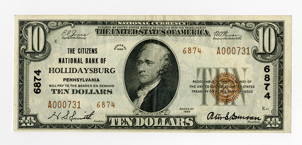 Citizens National Bank of Hollidaysburg, $10 T-2, Ch#6874.