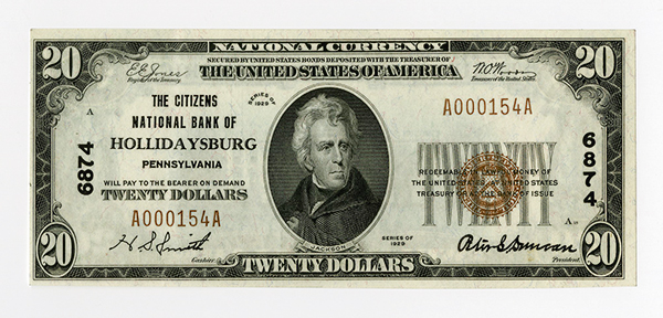Citizens National Bank of Hollidaysburg, $20 T-1, Ch#6874.