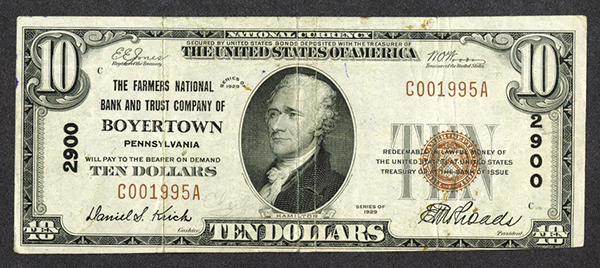 Farmers National Bank and Trust Company of Boyertown, $10, T1, Ch#2900.
