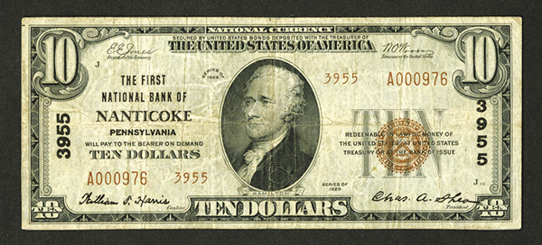 First National Bank of Nanticoke. $10, Series of 1929, T2, Ch# 3955.