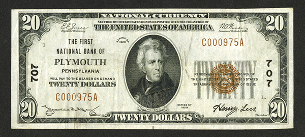 First National Bank of Plymouth. $20, Series of 1929, T-1, Ch# 707.