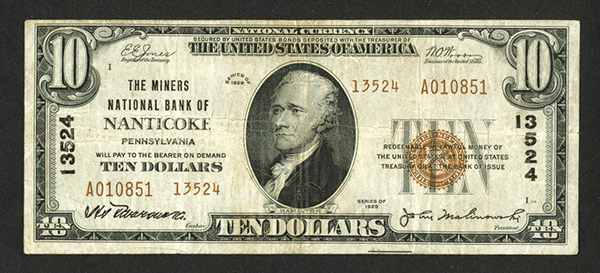 Miners National Bank of Nanticoke. $10, Series of 1929, T-2, Ch# 13524.