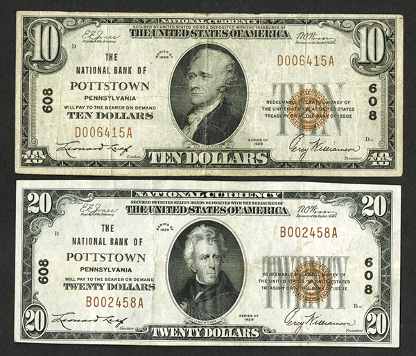 National Bank of Pottstown. Series of 1929, $10 and $20, T1, Ch# 608 Banknote Pair.