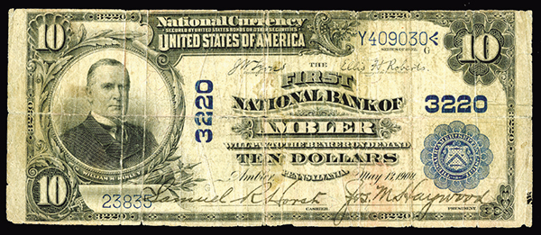 National Currency $10 Ch. 3220 Plain Back. First Nat'l Bank Ambler, PA.